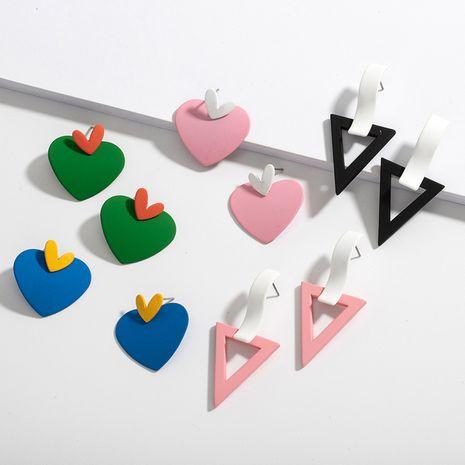 Korean fashion paint geometric love earrings wholesale NHAI251215's discount tags