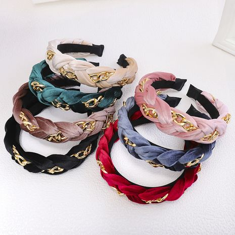 twist braid wide-brimmed gold velvet metal chain headband wholesale NHDM251266's discount tags