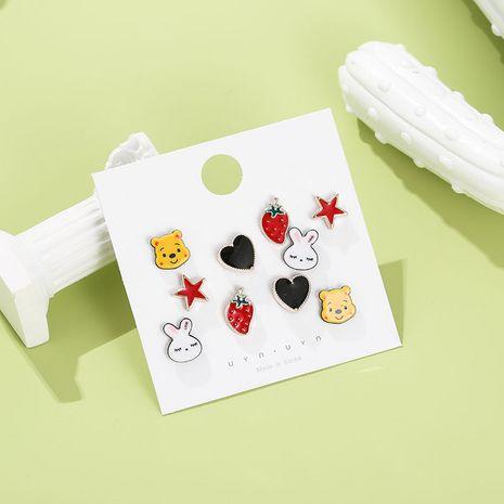 nouveau 5 paires de cartes enfants mignon couleur fruit combinaison animale boucles d'oreilles en plastique ensemble NHSD251273's discount tags