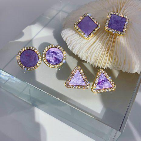 Corée 925 aiguille en argent violet brillant diamant nouvelles boucles d'oreilles sauvages à la mode des femmes coréennes NHXI251302's discount tags