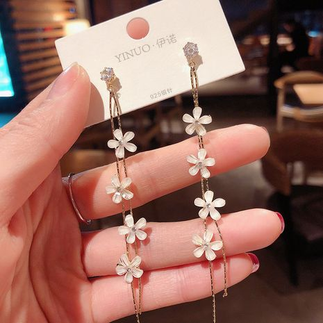925 silver needle Korea fairy tassel flower fashion sweet earrings for women NHXI251309's discount tags