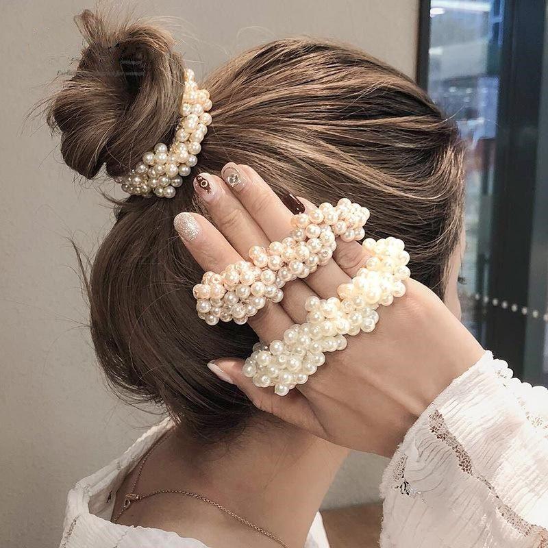 Girl imitation pearl head rope female simple rubber band hair rope headdress NHOF189980
