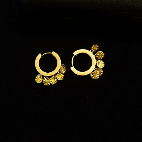 simple flower round  titanium steel plated 18K real gold earrings  wholesale NHOK250970's discount tags