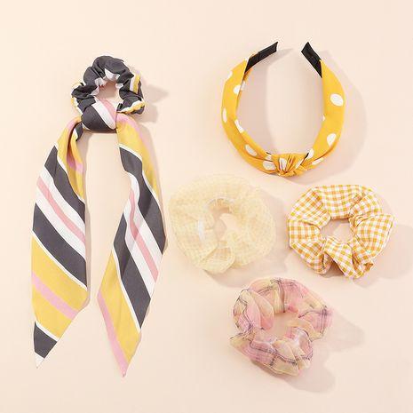 Tissu de mode frappé couleur géométrique croix bandeau noué bandeau à carreaux ensemble de cravate à cheveux NHAU240801's discount tags