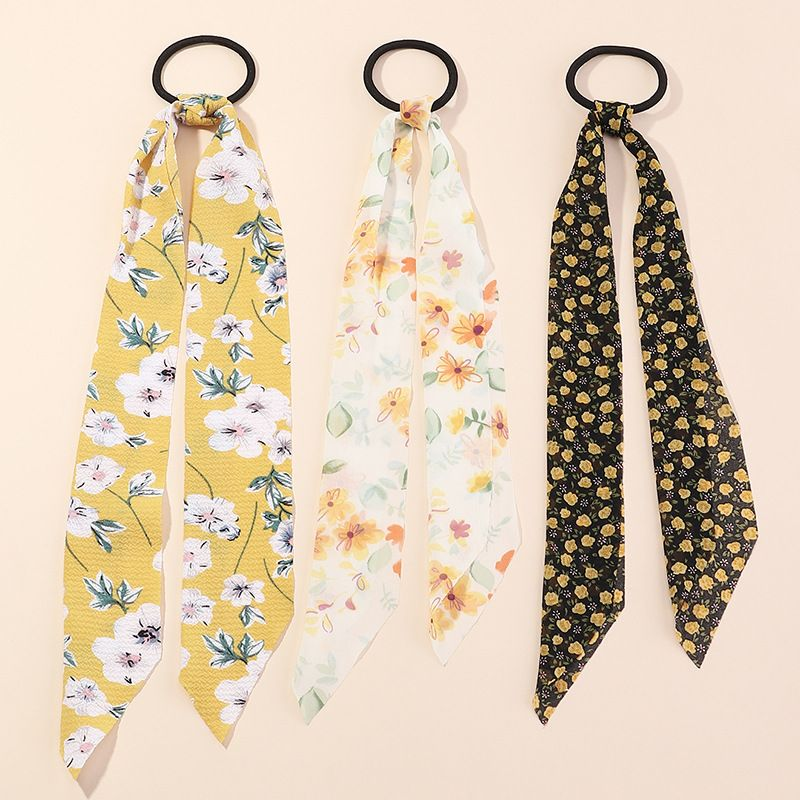 Fashion chiffon printing small flower large intestine ring streamer head rope hair scrunchies set   NHAU240802
