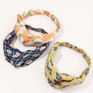 fashion  geometric printing  cross headdress hair band set wholesale  NHAU240808's discount tags