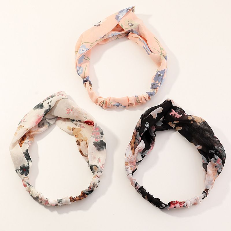 Korean fabric wild fairy chiffon print women's hair band elastic wide side cross hair band  NHAU240815