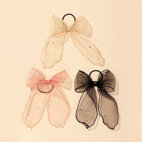 Filet coréen grille étoile arc ruban anneau de cheveux filles couleur douce queue de cheval accessoires de cheveux en gros NHAU240821's discount tags