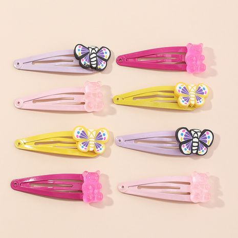 cute  candy color bear hairpin girl cute butterfly bangs clip wholesale NHAU240826's discount tags