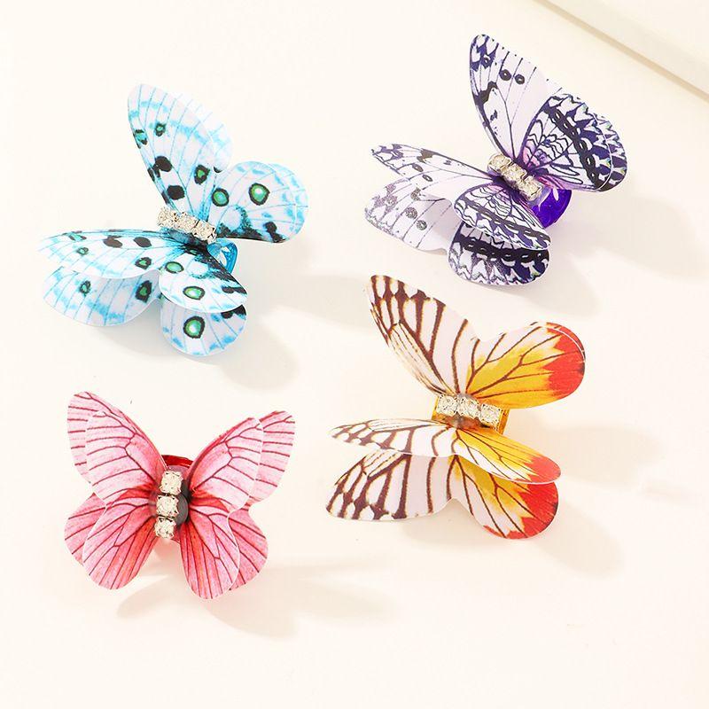 color butterfly hairpin side clip sweet girl diamond hairpin headdress wholesale NHAU240844