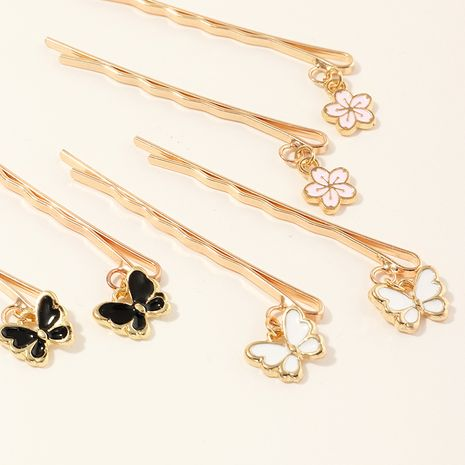 handmade dripping alloy butterfly word clip sweet and lovely flower hairpin 6 sets wholesale NHAU240853's discount tags