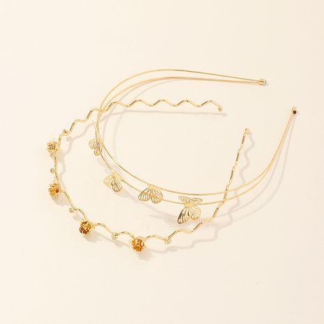 Moda dorada aleación de mariposa de doble capa Diadema de rosa salvaje simple NHAU240861's discount tags