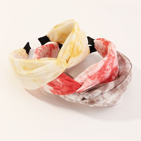 Classic retro tie-dye wide-brimmed knotted  fashion headband  wholesale NHAU240865's discount tags