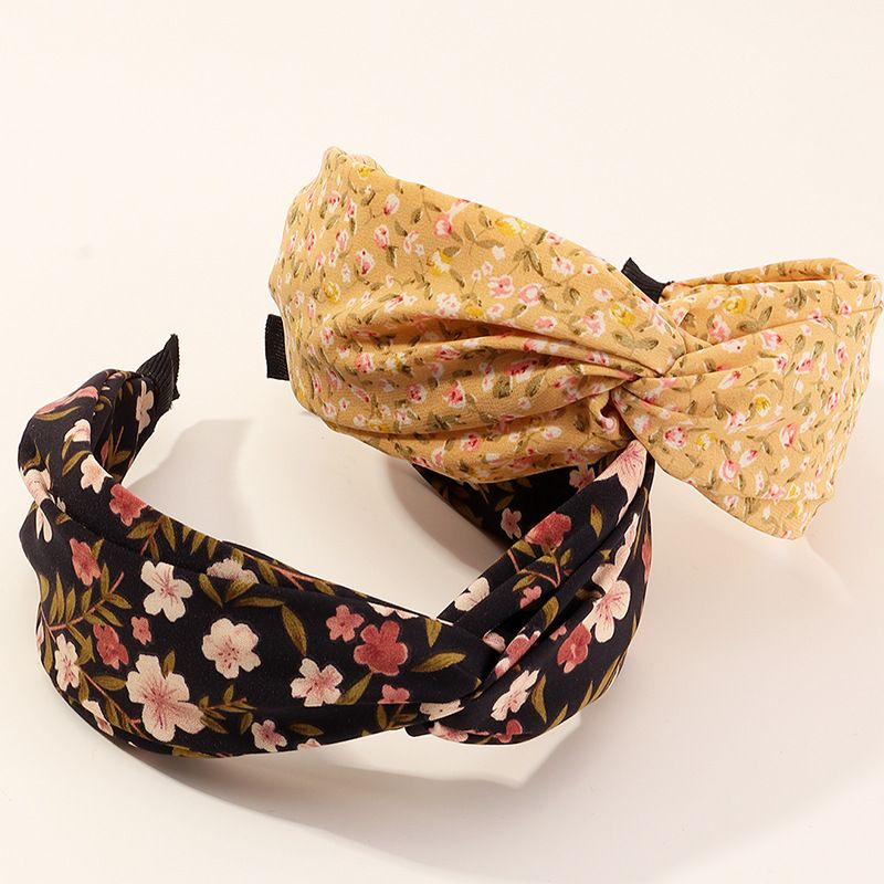 Fashion new floral cross fabric simple wide-sided knotted non-slip headband  NHAU240868
