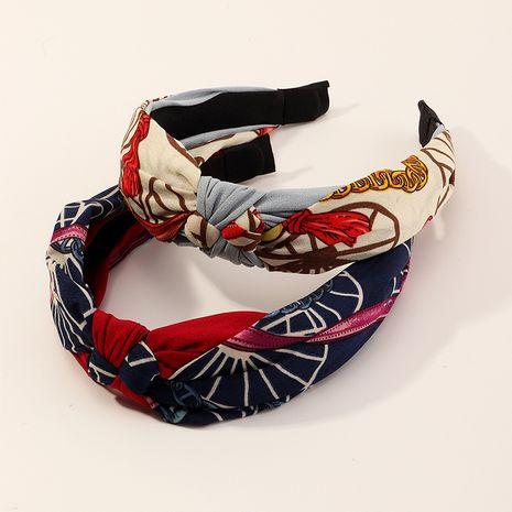 Fashion bohemian style chain polka dot cross retro fabric knotted headband  NHAU240870's discount tags