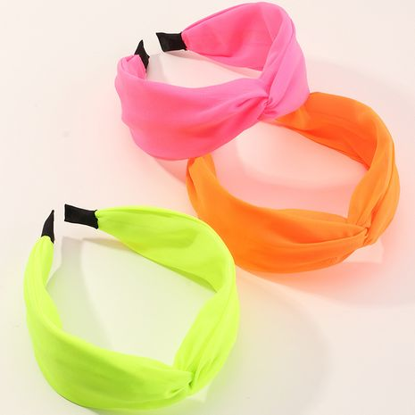 Fashion solid color wide brim new fluorescent color mesh headband NHAU240875's discount tags