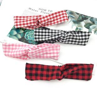 Korean pastoral style girl heart plaid hair band  new headband  NHDQ240890's discount tags