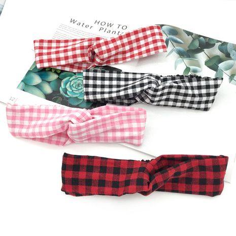 Korean pastoral style girl heart plaid hair band  new headband  NHDQ240890's discount tags