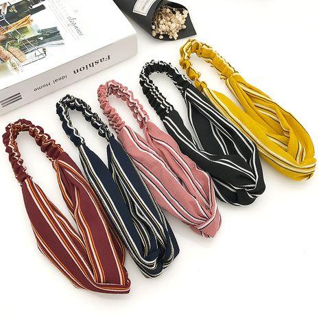 Korean retro cross elastic broad-brim hair band headband for women wholesale NHDQ240893's discount tags