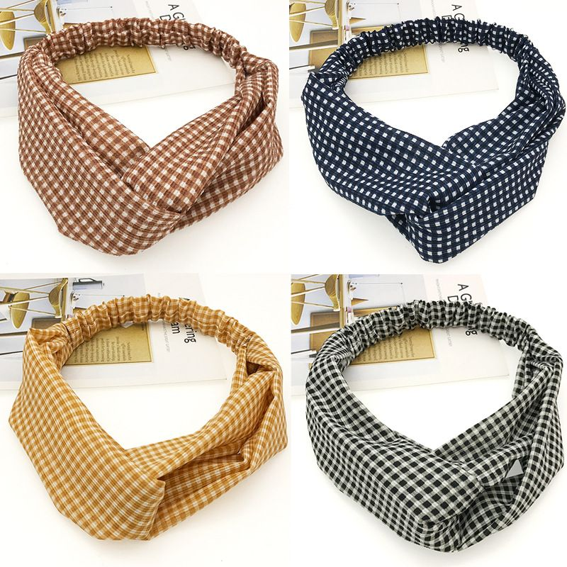 New fashion small lattice  Korean headwear sweet  women's hair accessories wholesale NHDQ240898