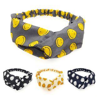 Korea cute childlike smiley expression headband elastic cross knotted headband  NHDQ240906's discount tags