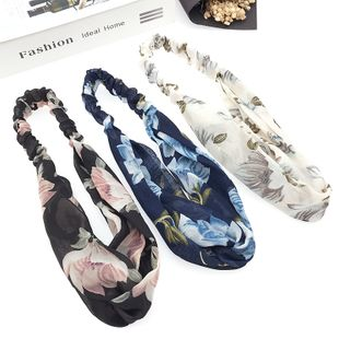 New fashion simple retro printing cross elastic fabric camellia hair accessories headband NHDQ240907's discount tags