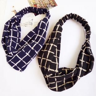 Korea knotted headband large square grid loose tendon  cross-brimmed headband  NHDQ240916's discount tags