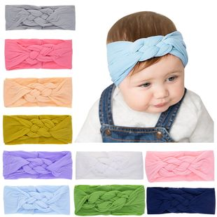 children's solid color  knot nylon hair band stretch baby rabbit ears head band  NHWO240925's discount tags