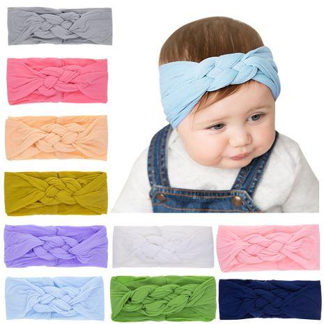 banda de pelo de nylon de nudo de color sólido para niños banda para la cabeza de orejas de conejo bebé NHWO240925's discount tags