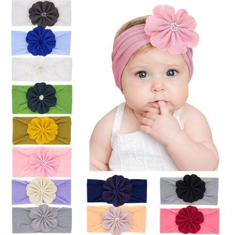 orejas de conejo de nylon para niños de moda bebé estirar gran flor diadema de bebé NHWO240927's discount tags