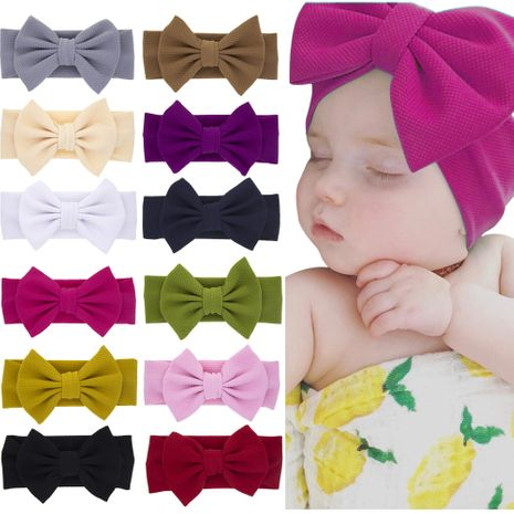 children's rabbit ears headband baby solid color bow headband  NHWO240928's discount tags