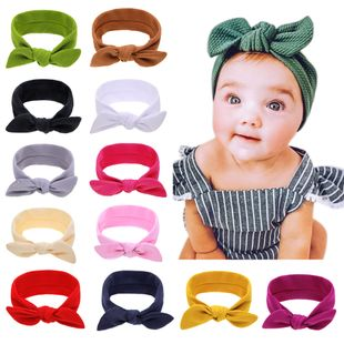 children's solid color bunny ears baby bubble texture rotating ears headwear solid color headband  wholesale NHWO240929's discount tags