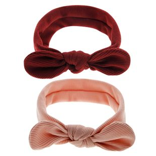 children's solid color rabbit ears striped elastic headband baby head rope hairband  NHWO240930's discount tags