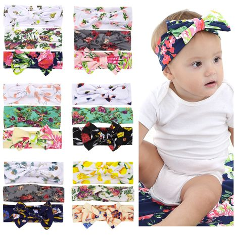 children's printed rabbit ears  headband three-piece suit wholesale  NHWO240931's discount tags