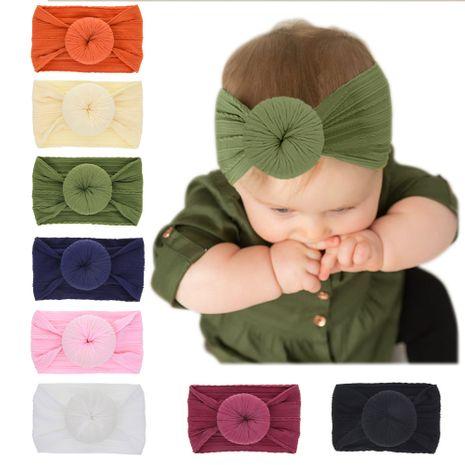 children's donut headband elastic nylon solid color round ball bunny ear baby hemp pattern headband NHWO240932's discount tags