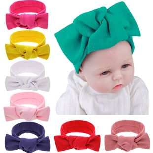baby bunny ears solid color baby elastic headband knotted big bow striped headdress wholesale NHWO240934's discount tags