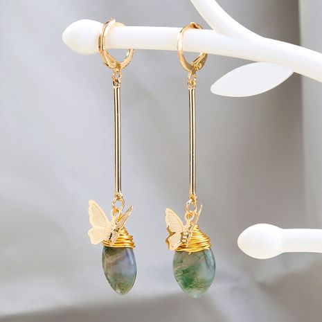 new  long simple  elegant metal butterfly natural agate stone earrings wholesale nihaojewelry NHAN240936's discount tags