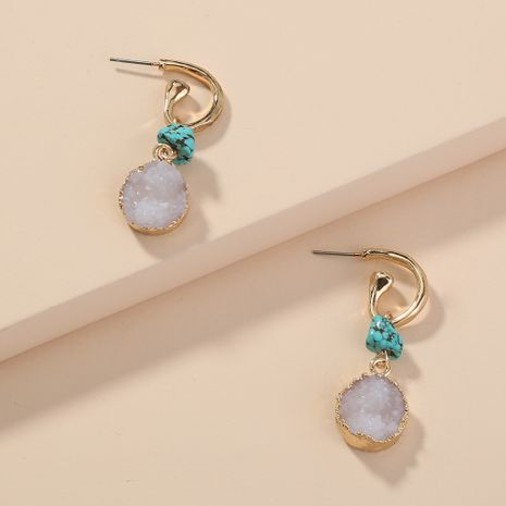 retro hot-selling  characteristic turquoise C-shaped ear hook round earrings wholesale  NHAN240937's discount tags