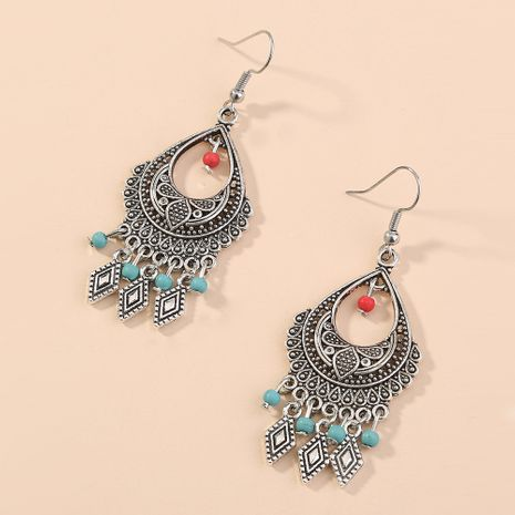 hot-selling jewelry retro ethnic style creativity exquisite carving pattern water drop tassel diamond earrings wholesale nihaojewelry NHAN240940's discount tags