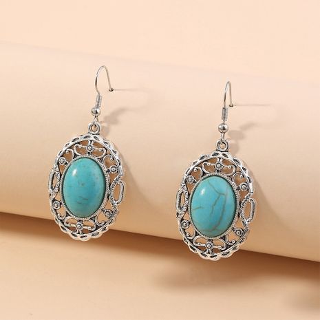 Bohemian Turquoise Earrings Hollow Oval Classical Elegant Ethnic Retro Jewelry wholesale nihaojewelry NHAN240941's discount tags