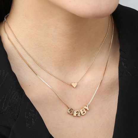 Hot-selling fashion heart-shaped double layer simple versatile layered multilayer metal necklace for women NHAN240943's discount tags