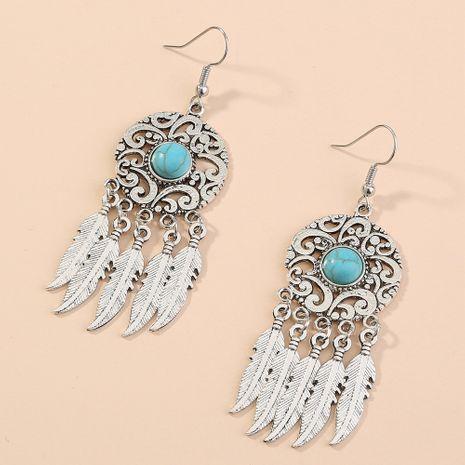 Hot Jewelry Retro Hollow Carved Long Earrings Feather Tassel Pendant Earrings wholesale nihaojewelry NHAN240944's discount tags