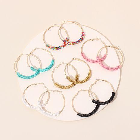 Boucles d'oreilles en perles de riz tissées à la main de style ethnique exagéré géométrique grand cercle pour femmes NHRN240953's discount tags