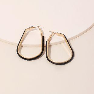 Fashion new geometric U-shaped rice beads hand-woven women's tide niche ethnic style earrings jewelry NHRN240954's discount tags