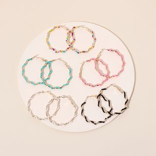 New exaggerated big circle trendy bohemian round bead earrings for women NHRN240955's discount tags