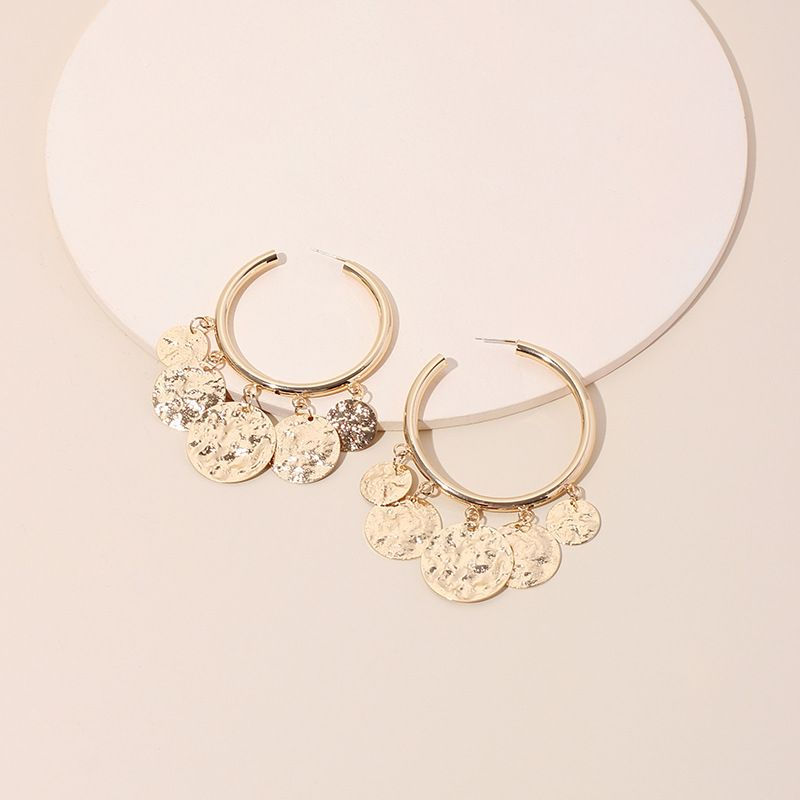 New exaggerated circle trendy retro fashion round disc alloy earrings for women jewelry NHRN240957