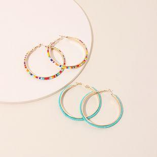 Fashion exaggerated geometric big circle ethnic style round handmade beaded rice bead earrings NHRN240959's discount tags