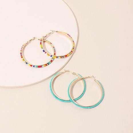 Mode exagérée géométrique grand cercle style ethnique rondes boucles d'oreilles en perles de riz à la main NHRN240959's discount tags