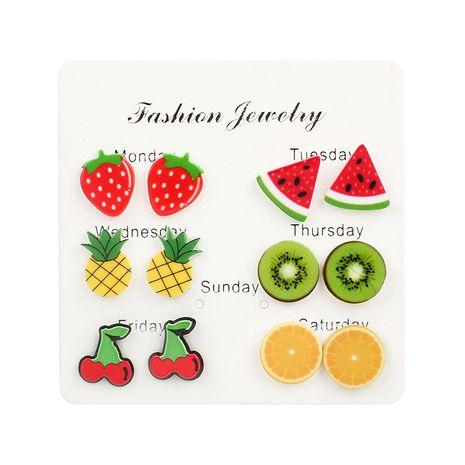 Ensemble de boucles d'oreilles pour femmes en acrylique aux fraises et cerises aux couleurs vives et aux fruits coréens NHRN240969's discount tags