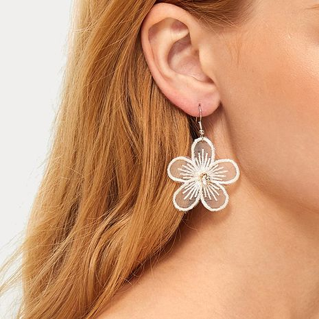 retro soft cute girl chiffon lace flower diamond simple earrings wholesale nihaojewelry NHRN240970's discount tags